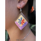 bali hand made wood earrings painted flowers