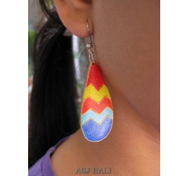 wood earring hand painted tears design from bali