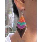 natural wood earrings hand painted balinese design