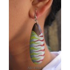 natural wooden earrings hand painted bali design