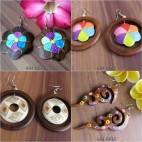 wooden earrings hand painted bali designer
