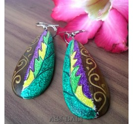 amazing wooden earrings hand painting made bali