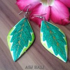 handmade wooden earring painted bali leaves