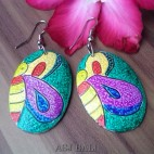 exotic wooden earrings hand painted leaves