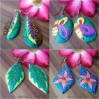 wooden earrings hand painted bali leaves