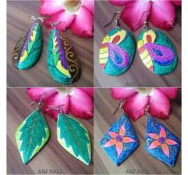 wooden earrings hand painted bali leaves