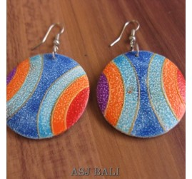 wooden earrings hand painted made in bali