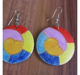 wooden earrings hand painted balinese style