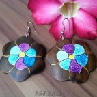 sono wooden earrings hand painted bali