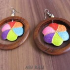 bali wooden earrings hand painting design