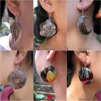 wooden earrings hand painted classic