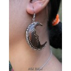 half moon wooden earrings hand painted ethnic