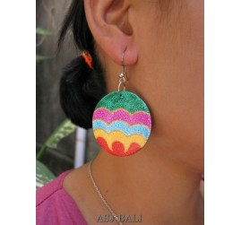 color wooden earrings hand painting made in bali