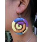 wooden earrings hand painted handmade bali