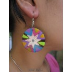 coloring wooden earrings hand painted unique