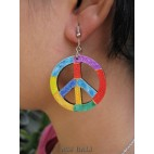 peace love wooden earrings hand painting bali
