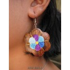 organic wooden earrings hand painting bali