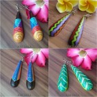 wooden stick earrings hand painted bali