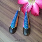 handmade wood stick earrings hand painted bali