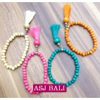 bracelet wooden tassels mix color bali