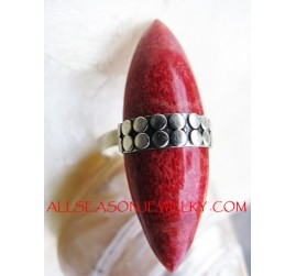 Silver Finger Rings Red Coral