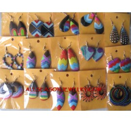 Painted Wooden Earring
