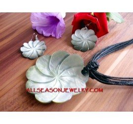 Set Carving Necklaces Pendant Seashells Hand Made Sets Earrings