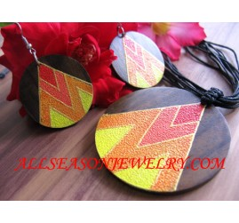 Wood Hand Painted Necklace Pendant with Earrings Sets