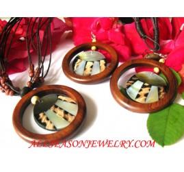 Wood Necklaces Set Earrings Seashells