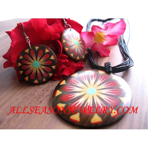 Flower Necklace Wood Hand Painted Sets Earrings