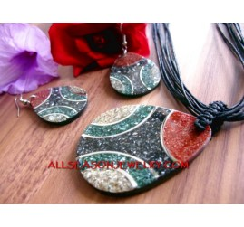 Bead Necklaces set Earrings Handmade Seashells Resin