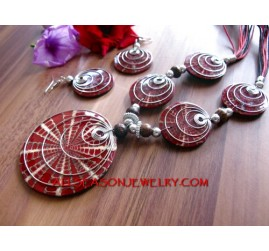 handcrafted Necklaces Pendant Seashells with Resin Sets Earrings