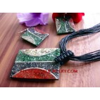 Sea Sand Resin Necklaces Pendan Sets Earrings