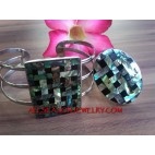 Abalone Seashells Stainless Steel Bracelet Ring Sets