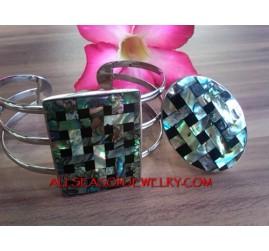 Abalone Seashells Stainless Steel Bracelet Ring Sets