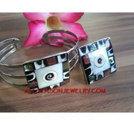 Set Bracelet Shell Rings