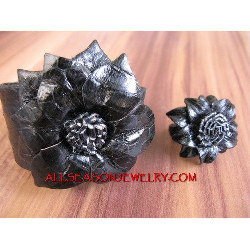 Leather Ring Bracelet Set