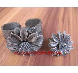 Leather Bracelet Set Rings