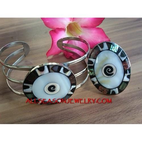 Resin Shell Bracelet Ring Set