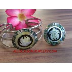 Hand Carving Sea Shells Bracelet Ring Stainless Steel Sets Handmade
