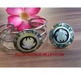 Hand Carving Sea Shells Bracelet Ring Stainless Steel Sets Handmade
