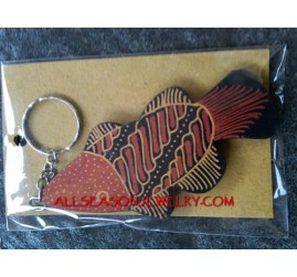 Batik Wood Key Rings