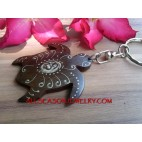 Turtle Carved Wood Key Ring