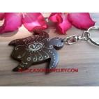 Turtle Carved Wood Key Ring