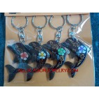 Dolphin Wood Carving Keyring