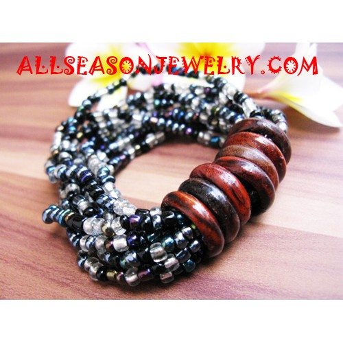 Bead Bracelet with Wood