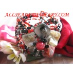 bead bracelets shells flowers