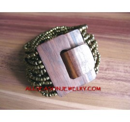 Gold Bead Buckle Wood
