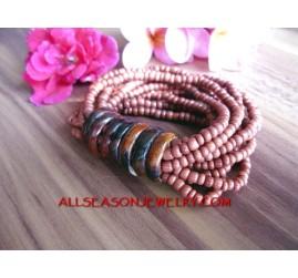 Brown Bead Stretch Bracelet
