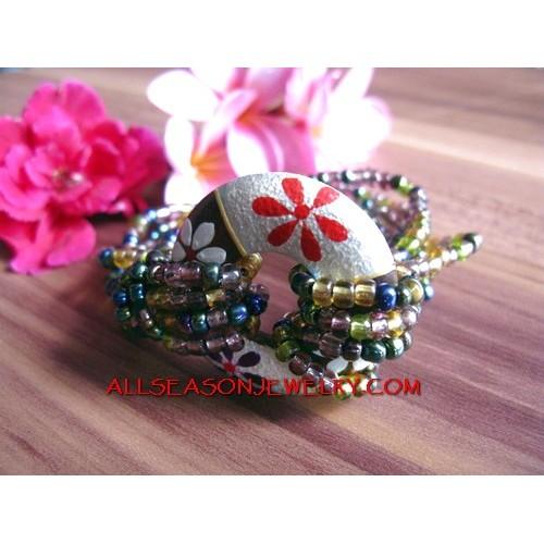 Bali Bead Bracelet Wood Paint